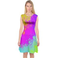 Grunge Radial Gradients Red Yellow Pink Cyan Green Capsleeve Midi Dress