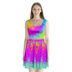 Grunge Radial Gradients Red Yellow Pink Cyan Green Split Back Mini Dress