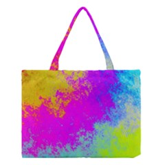 Grunge Radial Gradients Red Yellow Pink Cyan Green Medium Tote Bag