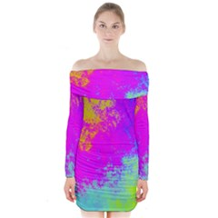 Grunge Radial Gradients Red Yellow Pink Cyan Green Long Sleeve Off Shoulder Dress