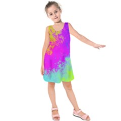Grunge Radial Gradients Red Yellow Pink Cyan Green Kids  Sleeveless Dress