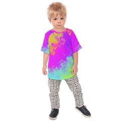 Grunge Radial Gradients Red Yellow Pink Cyan Green Kids  Raglan Tee