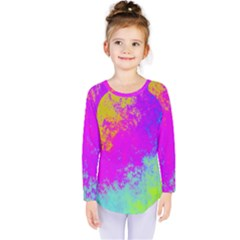 Grunge Radial Gradients Red Yellow Pink Cyan Green Kids  Long Sleeve Tee