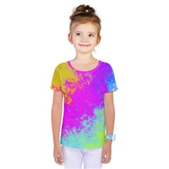 Grunge Radial Gradients Red Yellow Pink Cyan Green Kids  One Piece Tee