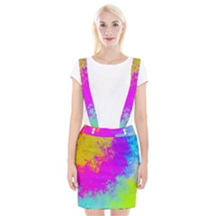 Grunge Radial Gradients Red Yellow Pink Cyan Green Braces Suspender Skirt