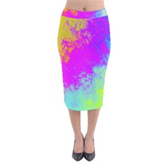 Grunge Radial Gradients Red Yellow Pink Cyan Green Velvet Midi Pencil Skirt