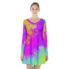 Grunge Radial Gradients Red Yellow Pink Cyan Green Long Sleeve Velvet V Neck Dress