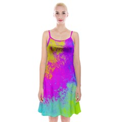 Grunge Radial Gradients Red Yellow Pink Cyan Green Spaghetti Strap Velvet Dress