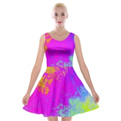 Grunge Radial Gradients Red Yellow Pink Cyan Green Velvet Skater Dress