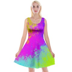 Grunge Radial Gradients Red Yellow Pink Cyan Green Reversible Velvet Sleeveless Dress