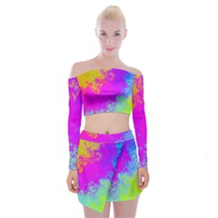 Grunge Radial Gradients Red Yellow Pink Cyan Green Off Shoulder Top With Skirt Set