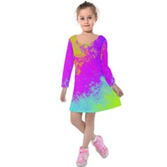 Grunge Radial Gradients Red Yellow Pink Cyan Green Kids  Long Sleeve Velvet Dress