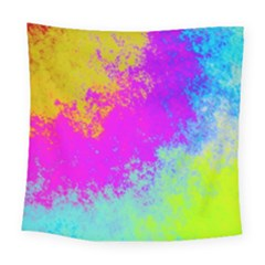 Grunge Radial Gradients Red Yellow Pink Cyan Green Square Tapestry (large)
