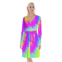 Grunge Radial Gradients Red Yellow Pink Cyan Green Long Sleeve Velvet Front Wrap Dress