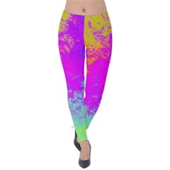 Grunge Radial Gradients Red Yellow Pink Cyan Green Velvet Leggings