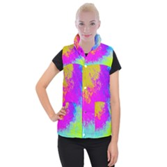 Grunge Radial Gradients Red Yellow Pink Cyan Green Women s Button Up Puffer Vest