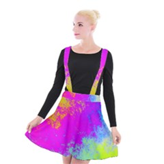 Grunge Radial Gradients Red Yellow Pink Cyan Green Suspender Skater Skirt