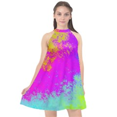 Grunge Radial Gradients Red Yellow Pink Cyan Green Halter Neckline Chiffon Dress