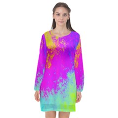Grunge Radial Gradients Red Yellow Pink Cyan Green Long Sleeve Chiffon Shift Dress