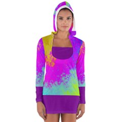 Background Solid Purple Women s Long Sleeve Hooded T Shirt