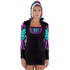 Background Color Solid Black Women s Long Sleeve Hooded T-shirt
