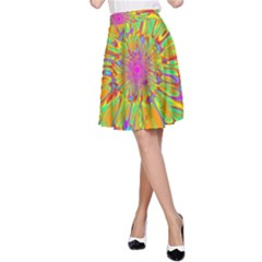 Magic Ripples Flower Power Mandala Neon Colored A Line Skirt