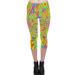 Magic Ripples Flower Power Mandala Neon Colored Capri Leggings