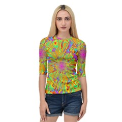 Magic Ripples Flower Power Mandala Neon Colored Quarter Sleeve Tee