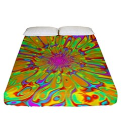 Magic Ripples Flower Power Mandala Neon Colored Fitted Sheet (king Size)