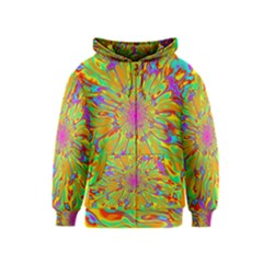 Magic Ripples Flower Power Mandala Neon Colored Kids  Zipper Hoodie