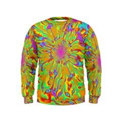 Magic Ripples Flower Power Mandala Neon Colored Kids  Sweatshirt