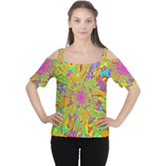Magic Ripples Flower Power Mandala Neon Colored Women s Cutout Shoulder Tee