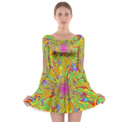 Magic Ripples Flower Power Mandala Neon Colored Long Sleeve Skater Dress