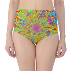 Magic Ripples Flower Power Mandala Neon Colored High Waist Bikini Bottoms