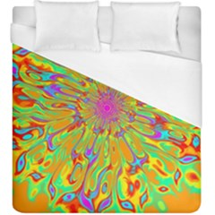 Magic Ripples Flower Power Mandala Neon Colored Duvet Cover (king Size)