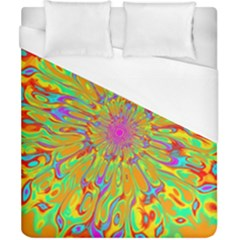Magic Ripples Flower Power Mandala Neon Colored Duvet Cover (california King Size)