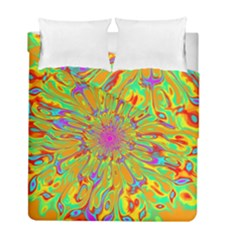 Magic Ripples Flower Power Mandala Neon Colored Duvet Cover Double Side (full/ Double Size)