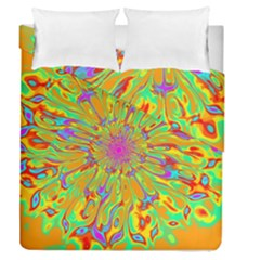 Magic Ripples Flower Power Mandala Neon Colored Duvet Cover Double Side (queen Size)