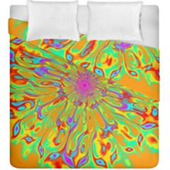 Magic Ripples Flower Power Mandala Neon Colored Duvet Cover Double Side (king Size)
