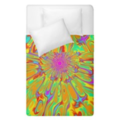 Magic Ripples Flower Power Mandala Neon Colored Duvet Cover Double Side (single Size)