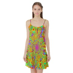 Magic Ripples Flower Power Mandala Neon Colored Satin Night Slip