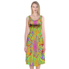 Magic Ripples Flower Power Mandala Neon Colored Midi Sleeveless Dress
