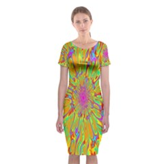 Magic Ripples Flower Power Mandala Neon Colored Classic Short Sleeve Midi Dress
