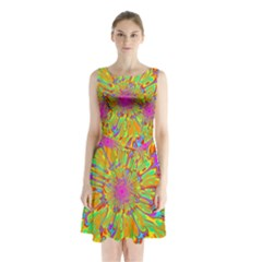 Magic Ripples Flower Power Mandala Neon Colored Sleeveless Chiffon Waist Tie Dress