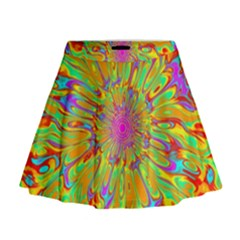Magic Ripples Flower Power Mandala Neon Colored Mini Flare Skirt