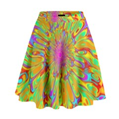 Magic Ripples Flower Power Mandala Neon Colored High Waist Skirt