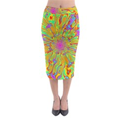 Magic Ripples Flower Power Mandala Neon Colored Midi Pencil Skirt
