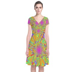 Magic Ripples Flower Power Mandala Neon Colored Short Sleeve Front Wrap Dress