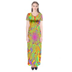Magic Ripples Flower Power Mandala Neon Colored Short Sleeve Maxi Dress