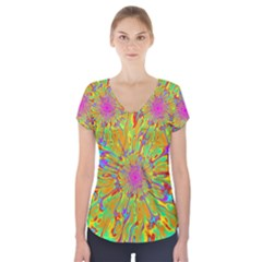 Magic Ripples Flower Power Mandala Neon Colored Short Sleeve Front Detail Top
